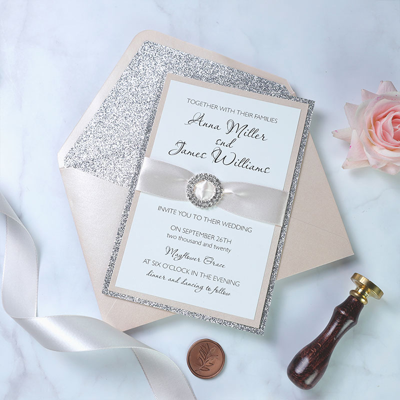 Blush Pink 3-Layer Invitation with Silver Bling Rhinestone,  Sweet 16 Christening Invitation, Baptism Invitation, Quinceanera PWIM030