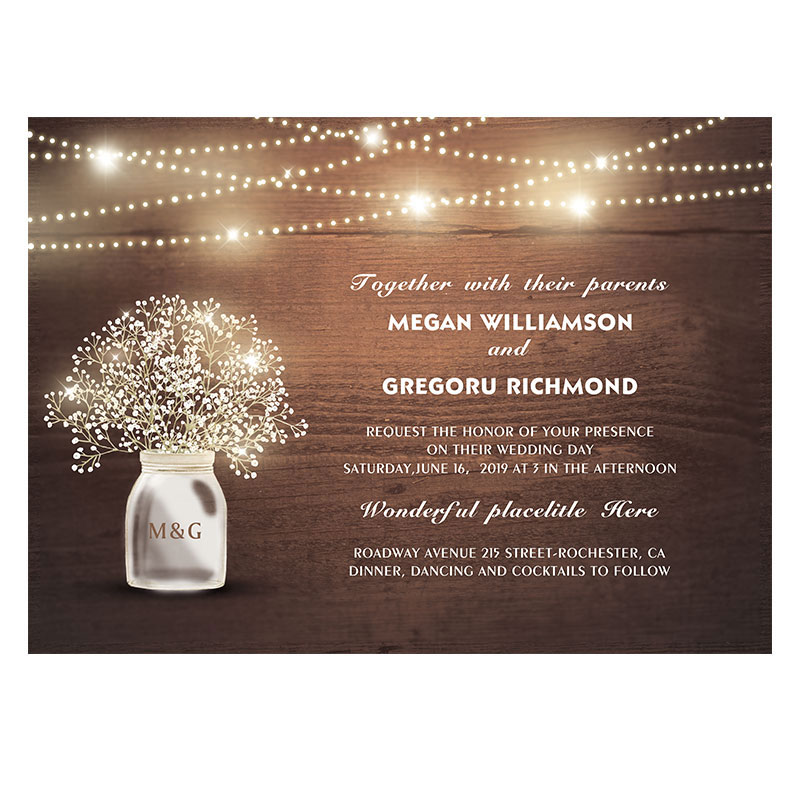 rustic woodland wedding invite with babybreath pattern and string lights PWIF007