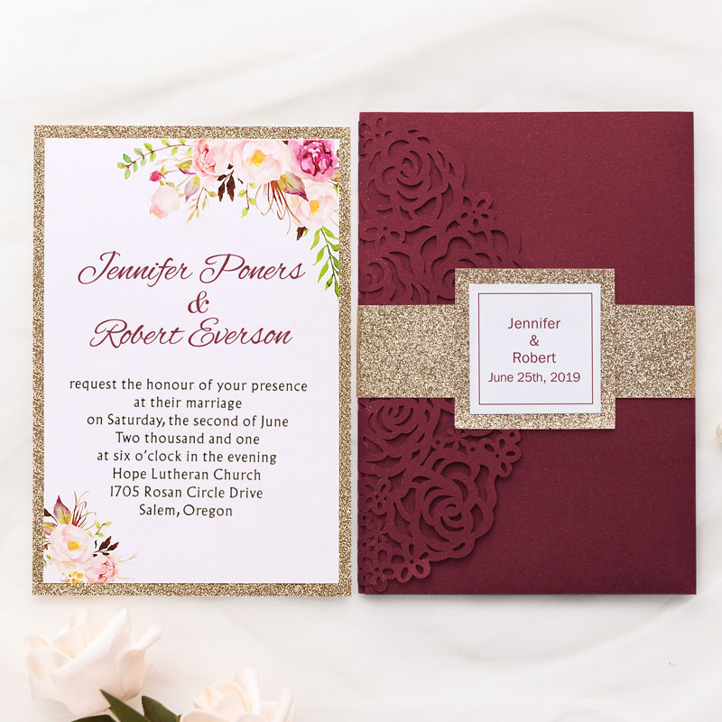 burgundy shimmer rose pattern laser cut wrap with pocket and rose gold glittery belly band wedding invitation PWIL025