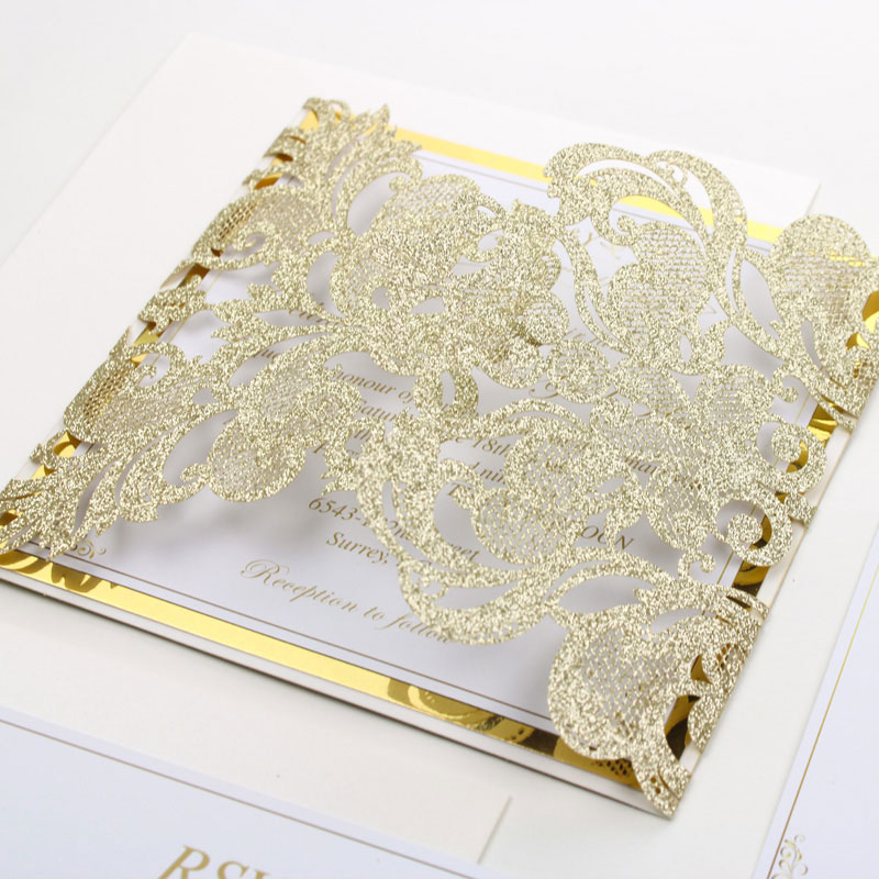 Glowing in Champagne Gold- Glittery Gold Laser Cut Wrap with Belly Band and Gold Mirror Backer PWIL026