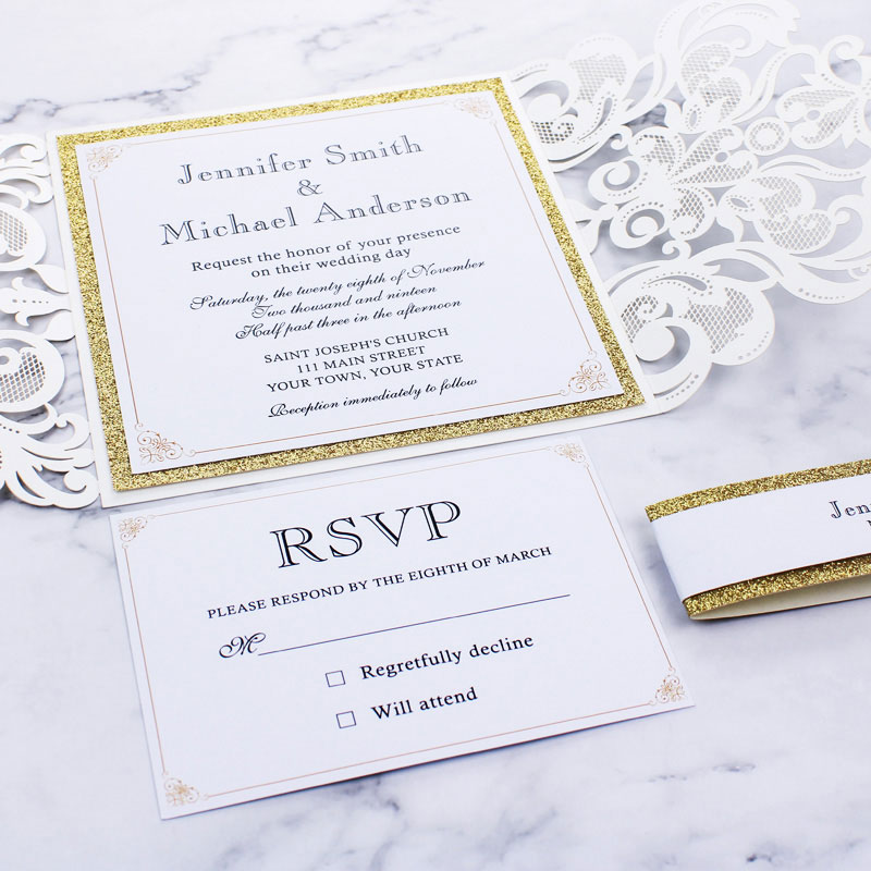 Classic Ivory Shimmer Laser Cut Wedding Invite with Gold Glittery Backer and Belly Band PWIL029