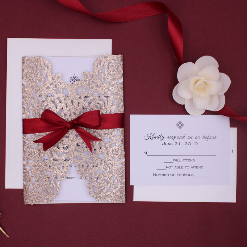 Stunning Rose Gold Glittery Floral Pattern Laser Cut Wedding Invite with Burgundy Ribbon PWIL031