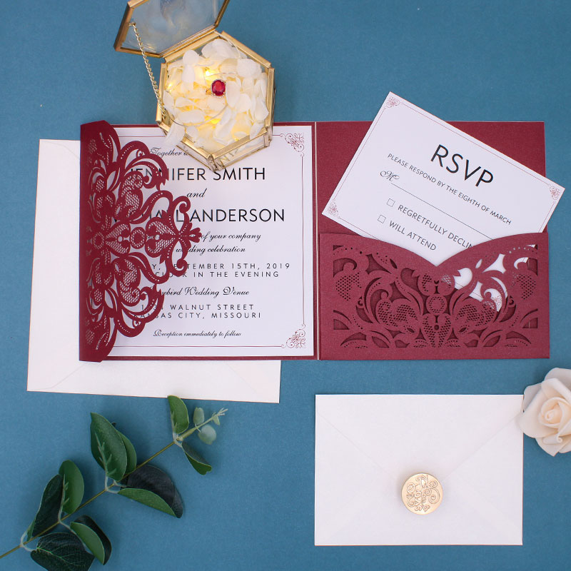 delicate burgundy shimmer tri-fold laser cut wedding invite with pocket and simple insert card PWIL034