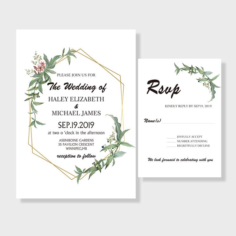 Rustic Greenery Botanical Wedding Invitation PWIF009