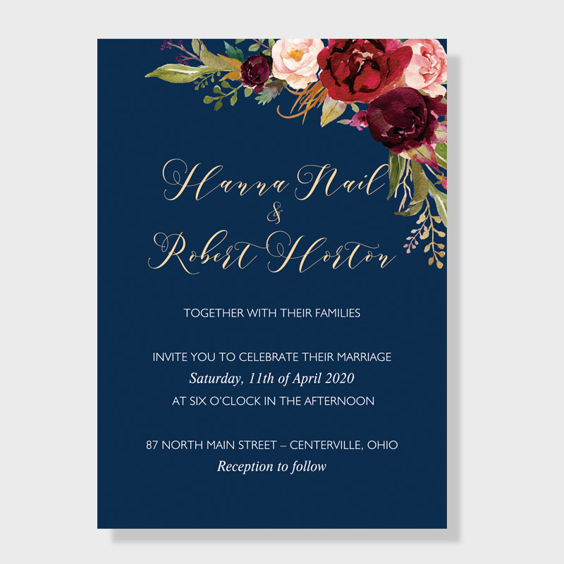 Affordable Navy Blue Wedding Invite With Burgundy Floral PWIF010
