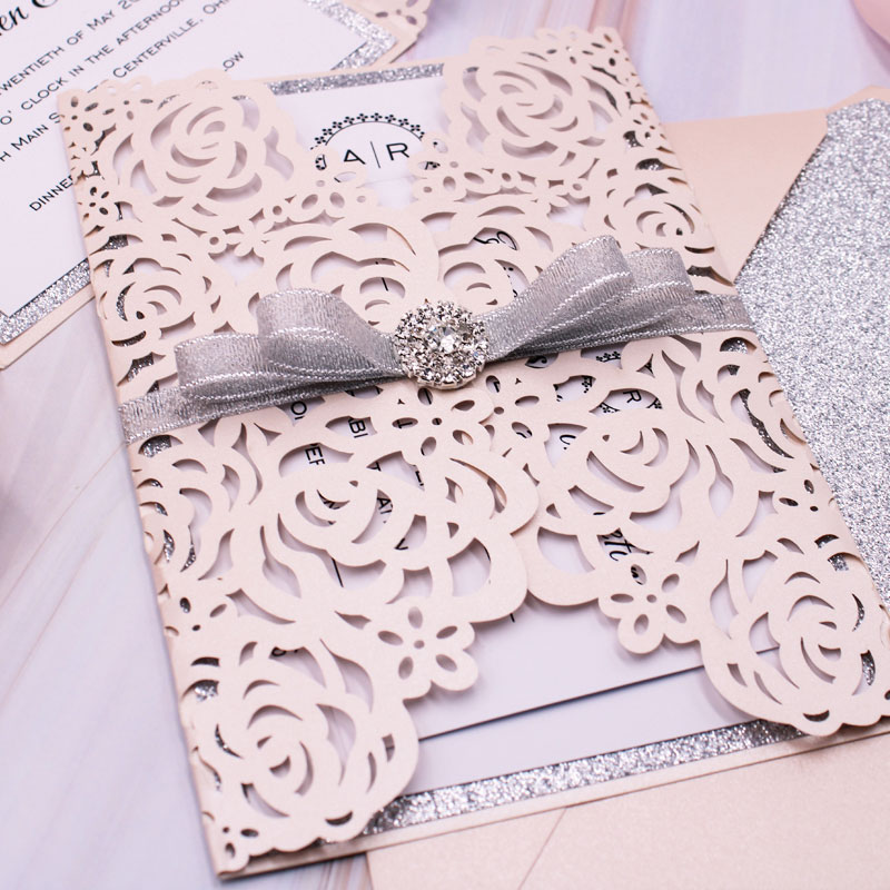Elegant Blush Shimmer Rose Pattern Laser Cut Wedding Invitation with Silver Glittery Backer and Ribbon and Bling Rhinestone PWIL035