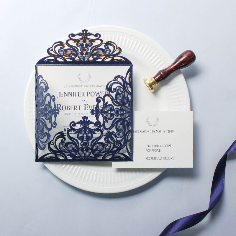 Navy Shimmer Laser Cut Wedding Invite with Classic Insert PWIL038
