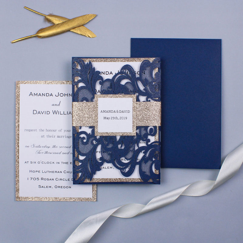 Elegant Navy Laser Cut Wedding Invite with Rose Gold Glittery Backer and Belly Band PWIL039