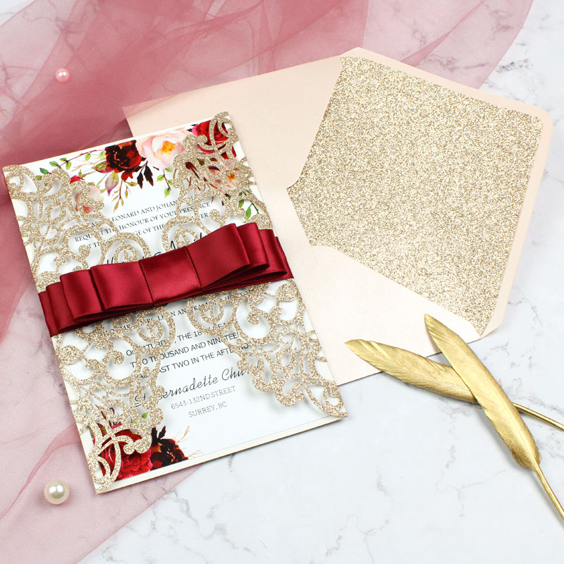 Elegant Rose Gold Glittery Laser Cut Wedding Invite with Floral Inspired Insert and Burgundy Ribbon PWIL040