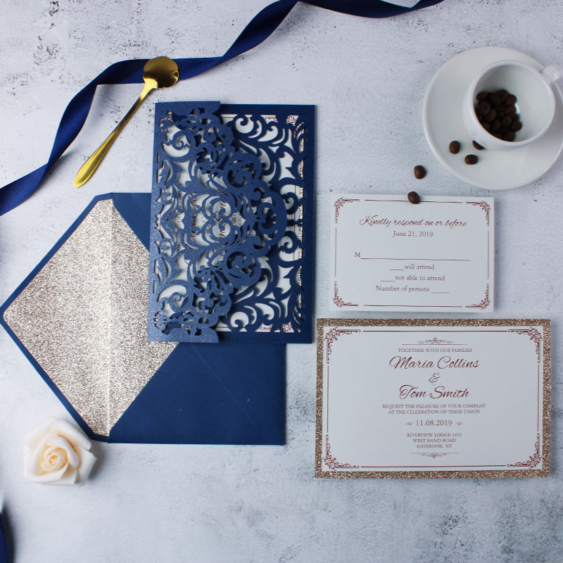 Elegant Navy Laser Cut Wedding Invite with Rose Gold Glittery Backer PWIL041