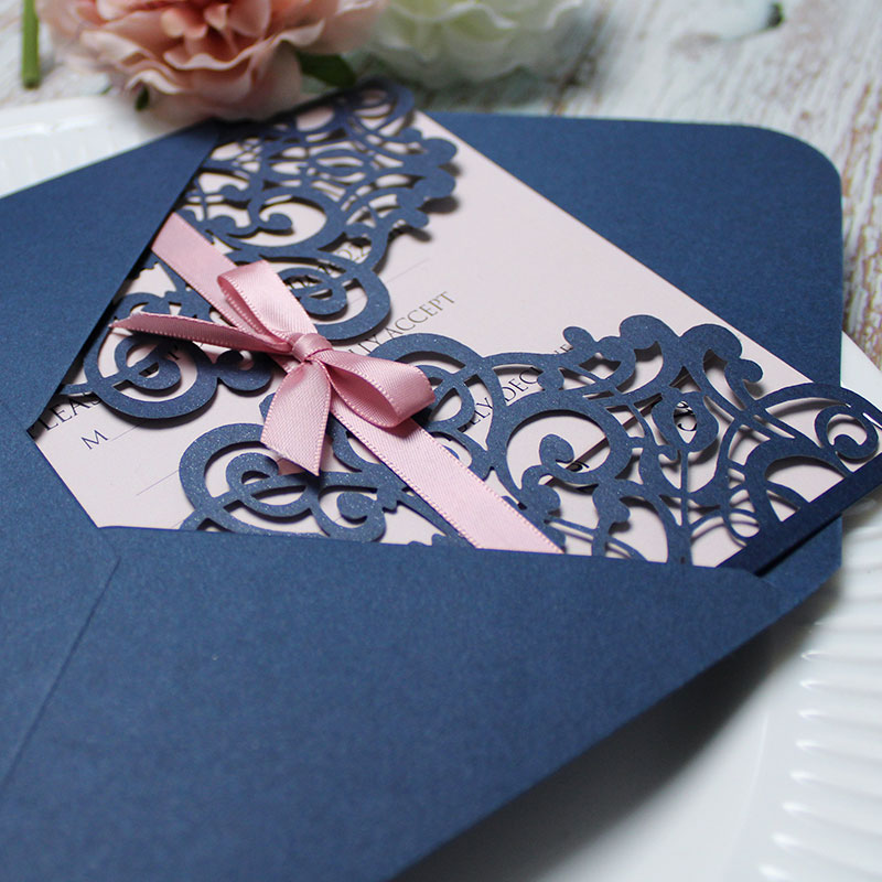 Elegant Navy Blue Laser Cut Wrap Wedding Invte With Mauve Ribbon PWIL042