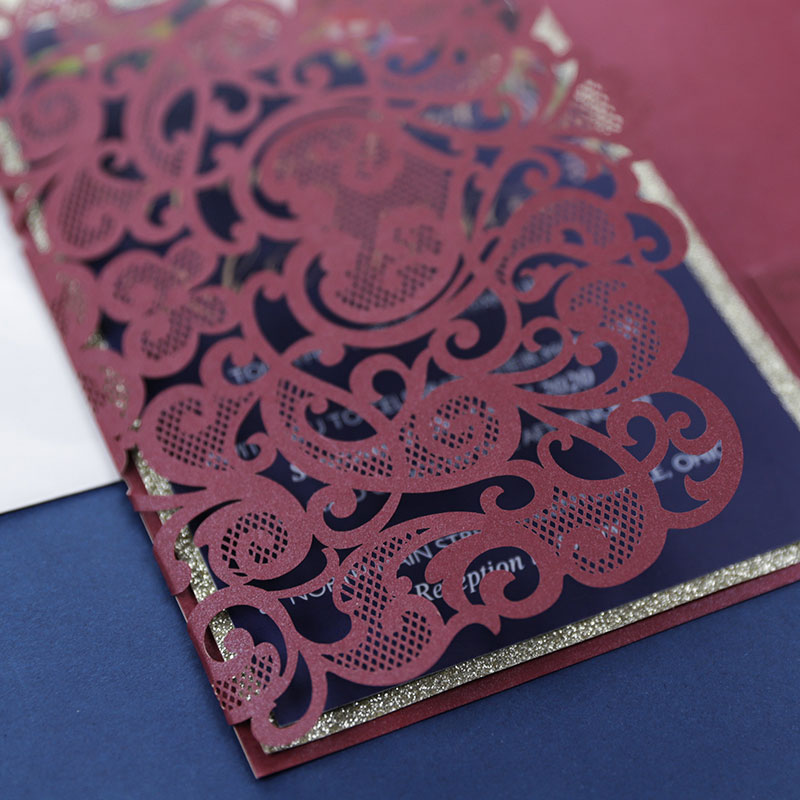 delicate burgundy shimmer rose pattern laser cut wedding invite with pocket and floral inspired insert card PWIL043