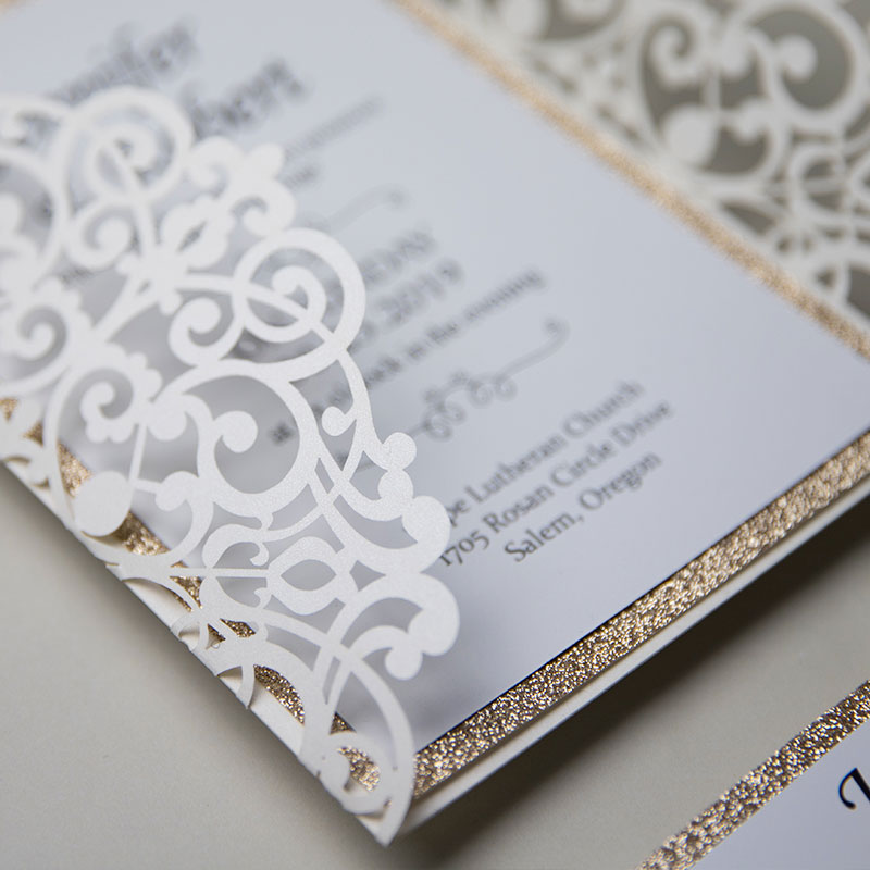 Classic Ivory Shimmer Laser Cut Wedding Invite with Rose Gold Glittery Backer and Belly Band PWIL044