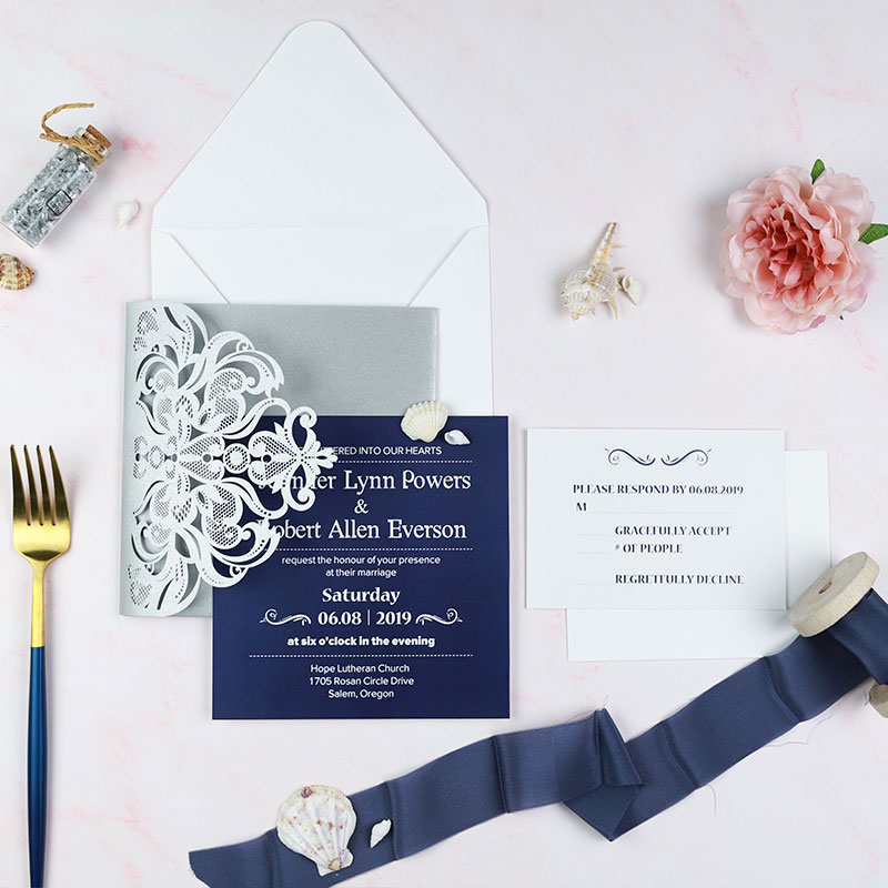 Elegant gray shimmer tri-fold laser cut wedding invite with pocket and navy insert card PWIL045