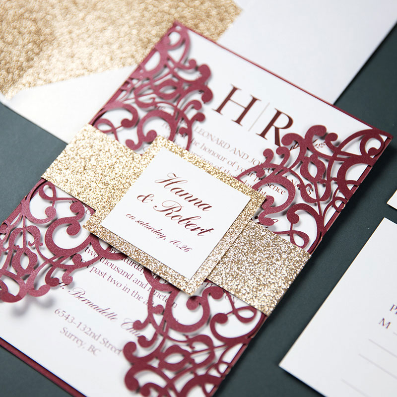 Elegant Burgundy Shimmer Laser Cut Wedding Invite with Rose Gold Glittery Belly and Tag Liner PWIL047
