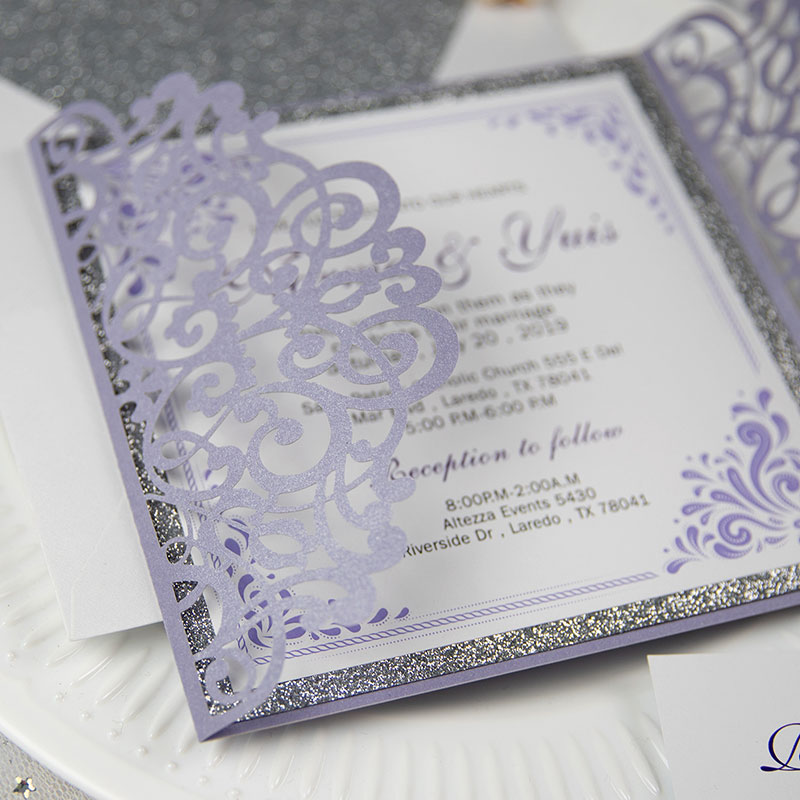 Lavender Laser Cut Wrap Wedding Invitation With Silver Glittery Liner PWIL048