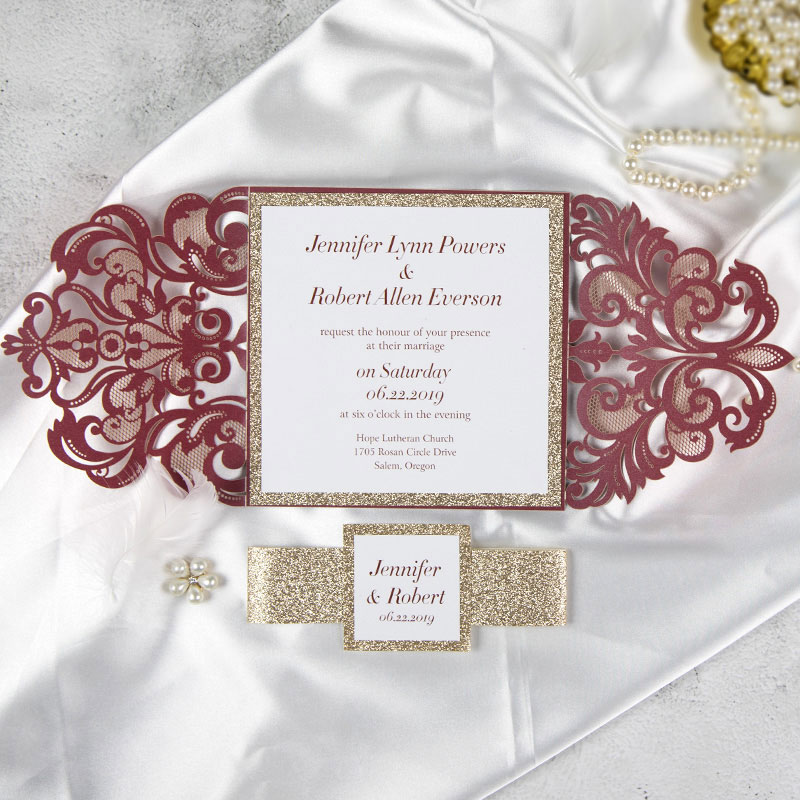 classic burgundy shimmer laser cut wedding invite with rose gold glittery belly band for fall an winter wedding PWIL049