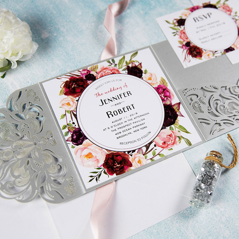 Elegant gray shimmer tri-fold laser cut wedding invite with pocket and burgundy floral inspired insert card PWIL050