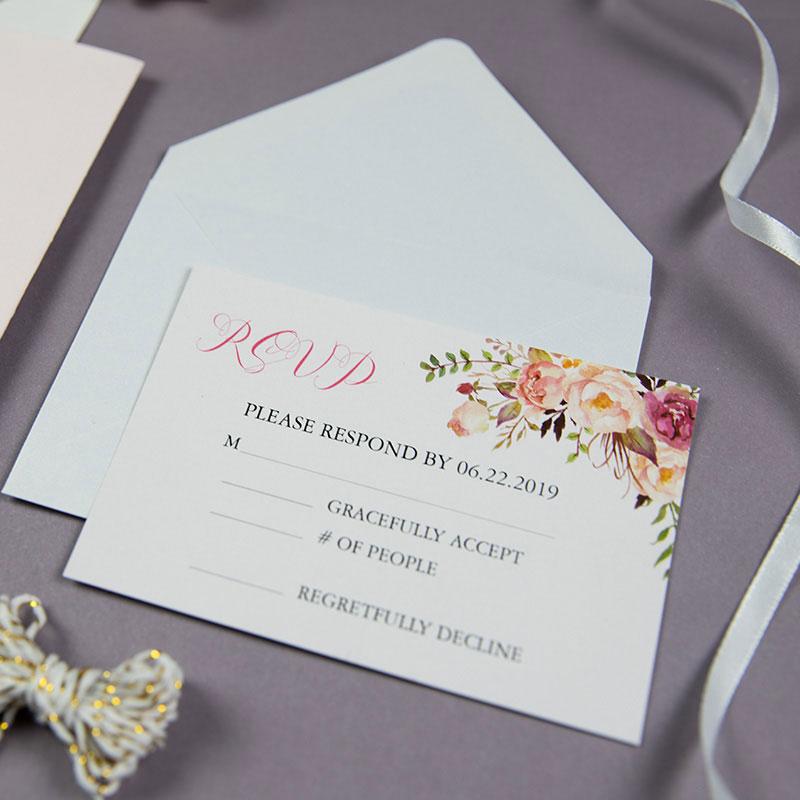 graceful gold blush shimmer laser cut tri-fold wrap with pocket and fragrant floral wedding invitation PWIL051