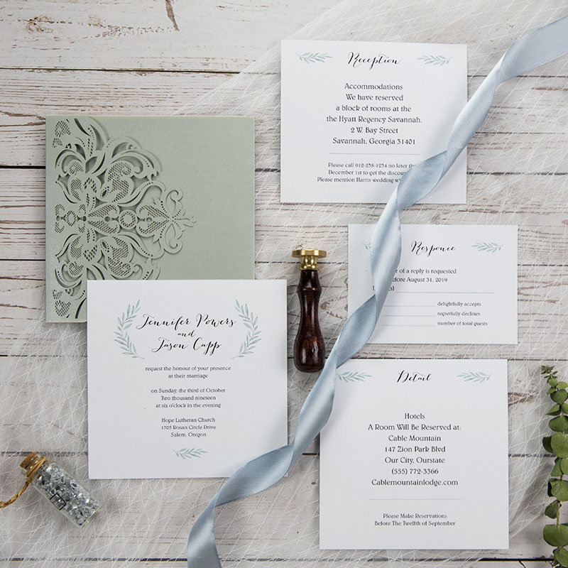 Silver Gray Laser Cut Pocketfold Wrap with Greenery Square Wedding Invitation Stacked Style PWIL053
