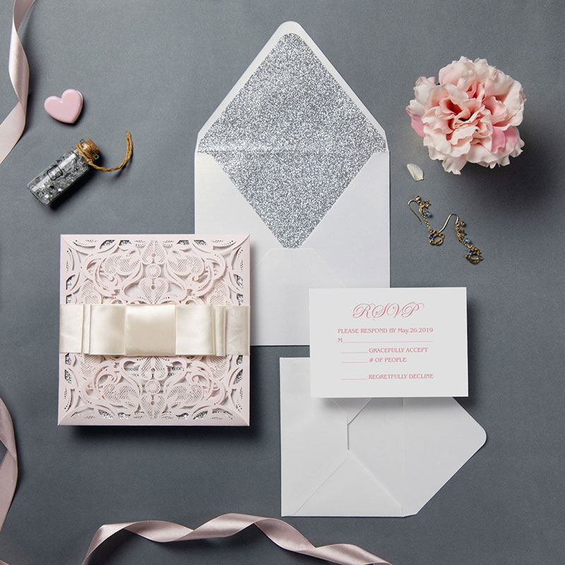 graceful blush shimmer laser cut Quinceañera Party Invitations PWIQ002