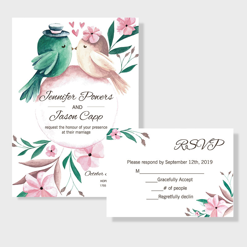 Romantic and affordable love bird themed wedding invitation PWIF012