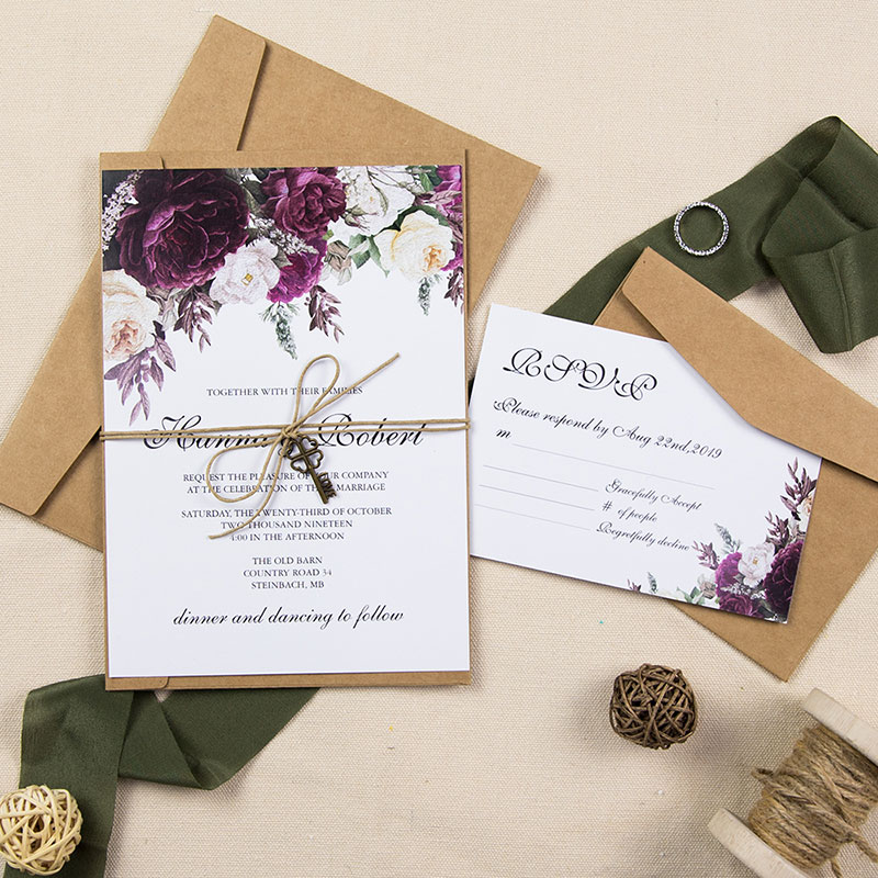 Boysenberry wedding invitations