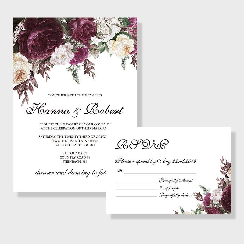 Vintage purple plumf floral inspired wedding invitation PWIF014