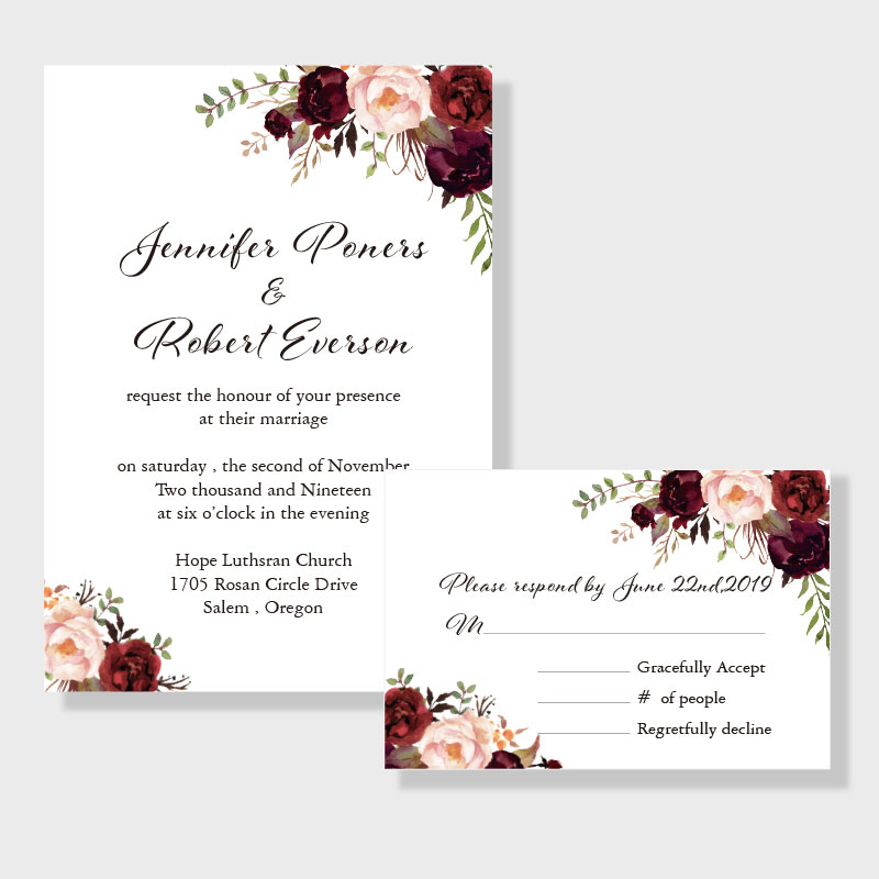 Elegant Burgundy And Blush Floral Inspired Wedding Invitation PWIF016