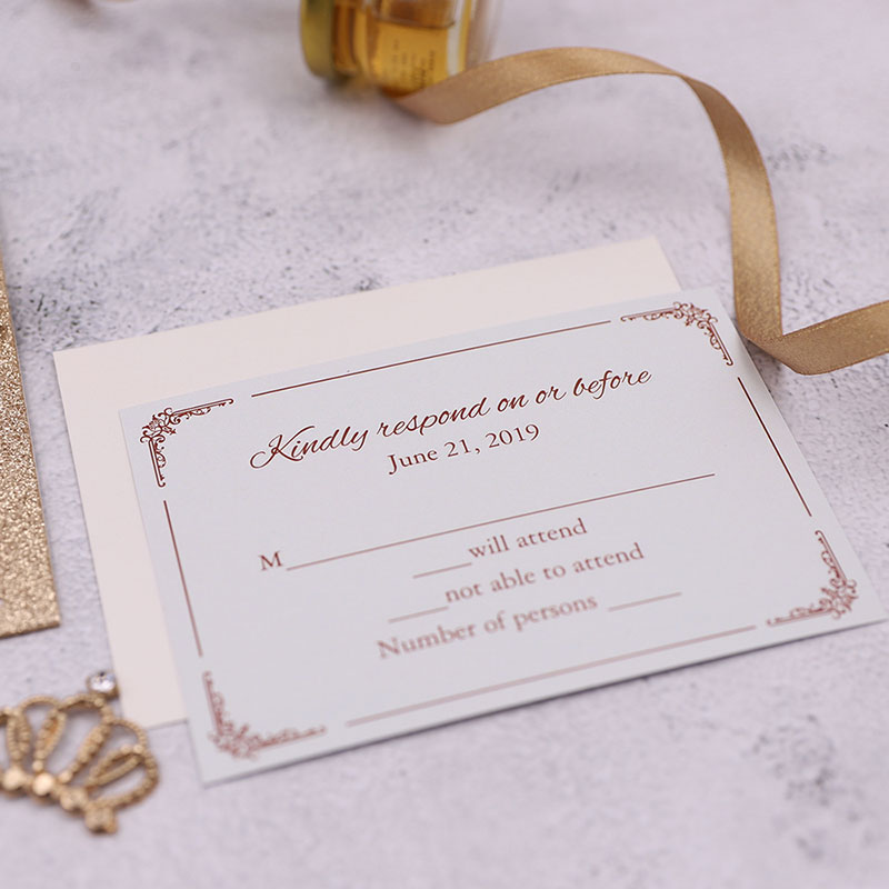 Rose Gold Glittery Laser Cut Wedding Invite with Gold Mirror Paper Backer and Classic Inner page PWIL054