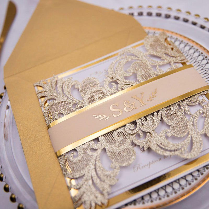 Glowing in Gold- Glittery Gold Laser Cut Wrap with Vellum Belly Band and Gold Foil Imprinting PWIL056