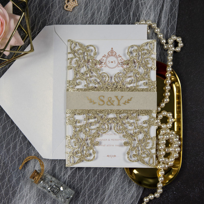 Glowing in Gold- Glittery Gold Laser Cut Wrap with Vellum Belly Band and Gold Foil Imprinting PWIL058