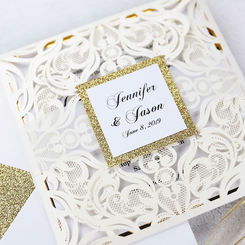 Luxury Ivory Laser Cut Gold Mirror Glitter Wedding Invitations PWIL069