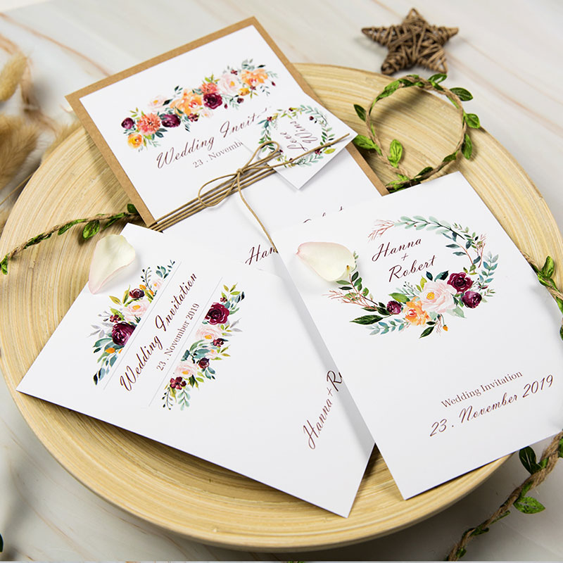 Vintage Wedding Invitations Bordeaux Wedding Cards with kraft Paper Backer PWIN001