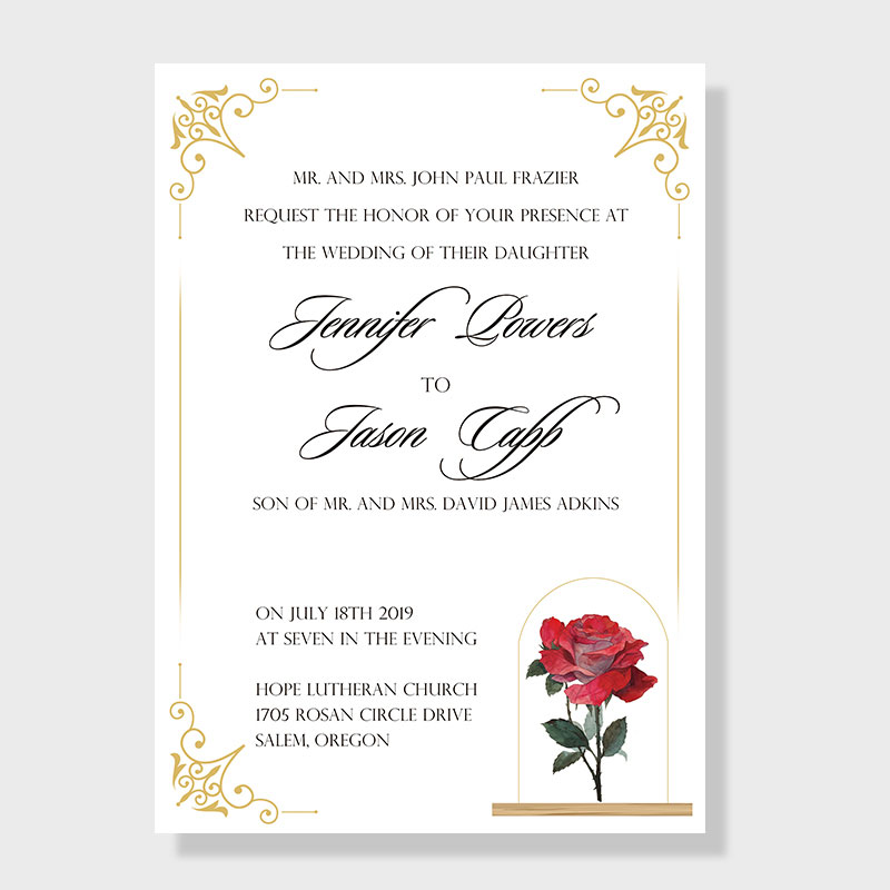 Red Rose Inspired by Beauty and The Beast Fairytale Wedding Invitation PWIF019
