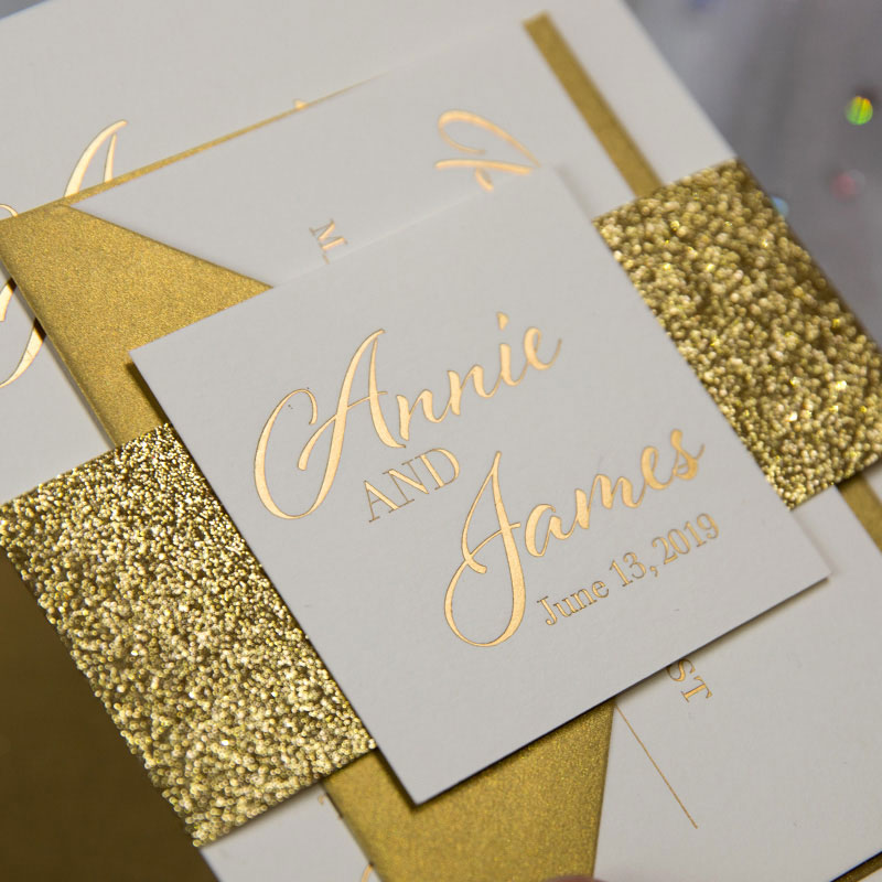 Glowing in Gold Foil and Gold Glittery Wedding Invitation Set PWIG001