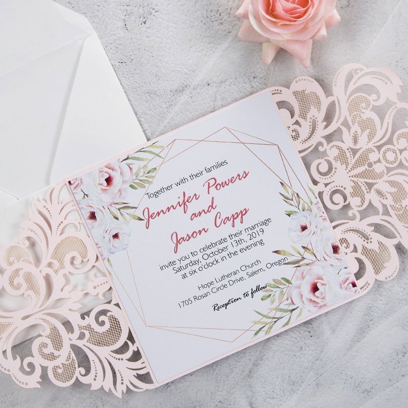 blush pink laser cut fold with geometric blooms-pink florals inspired wedding invite PWIL060