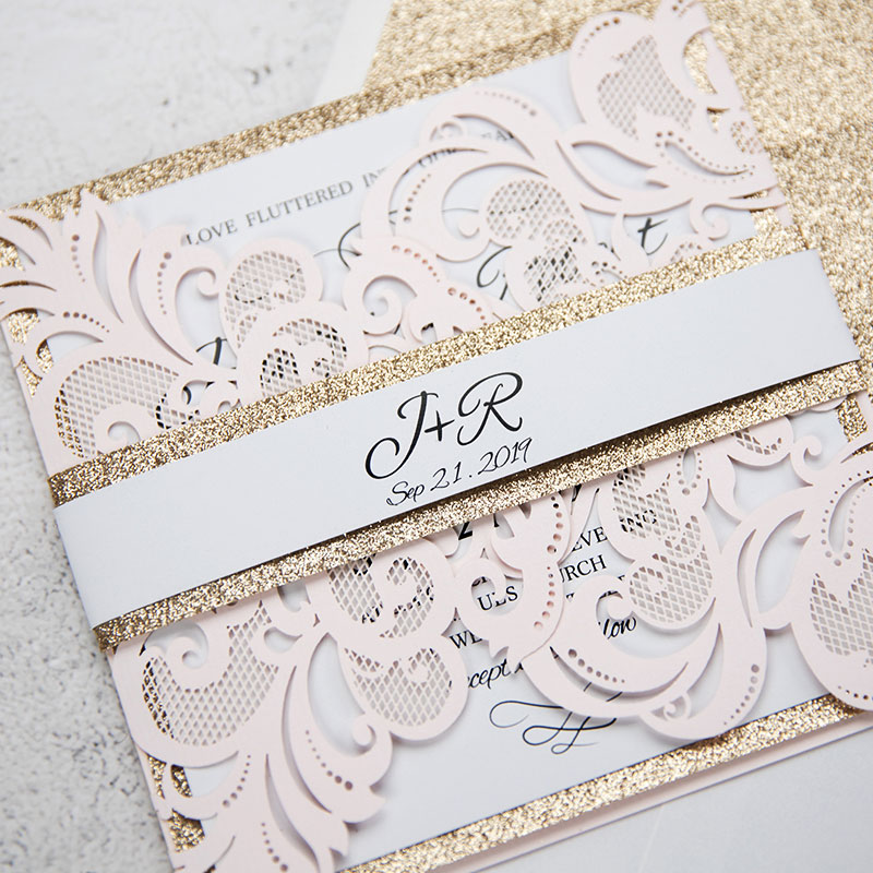 Elegant Blush Pink Laser Cut Wedding Invitation With Rose Gold Glitter Belly Band PWIL061