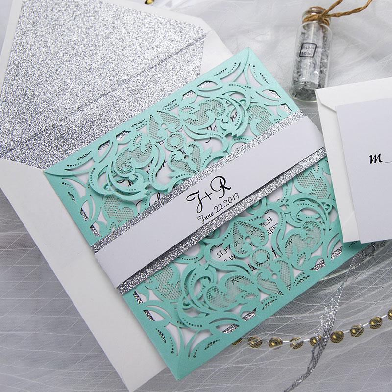 Tiffany Blue Swirl Laser Cut Wedding Invitation Kits Turquoise and Silver Glitter Invitation Suite PWIL062