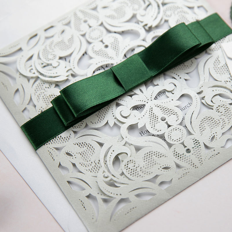 Botanical Touch Silver Shimmer Laser Cut Wrap Invitation With Green Ribbon PWIL063