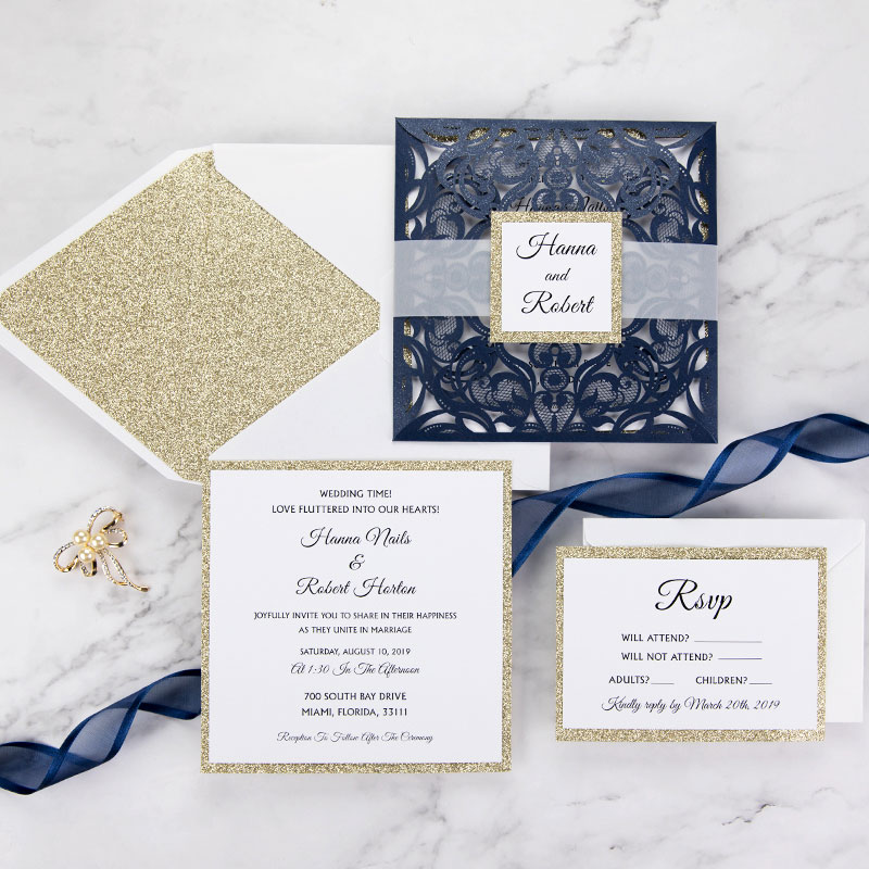 Navy Blue Champagne Glitter Laser Cut Wedding Invitation Cards PWIL068