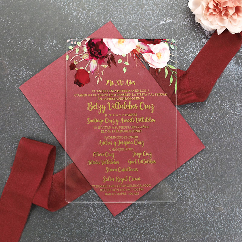 Acrylic Floral Wedding Invitation with Gold Foil Simplicity Clear Wedding Invitations PWIA001