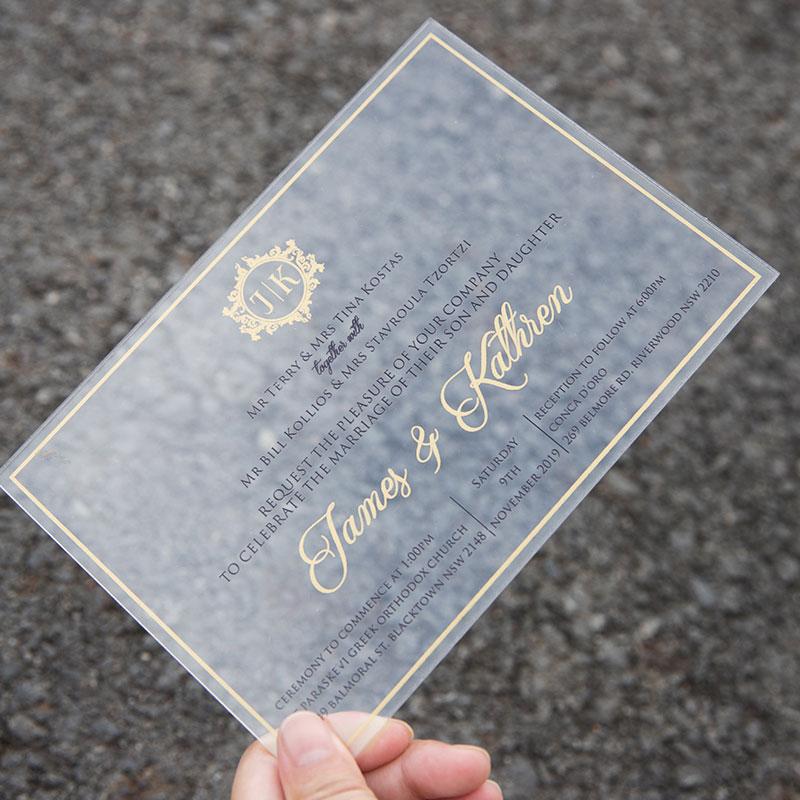 Acrylic Modern Calligraphy Clear Wedding Invitations PWIA002
