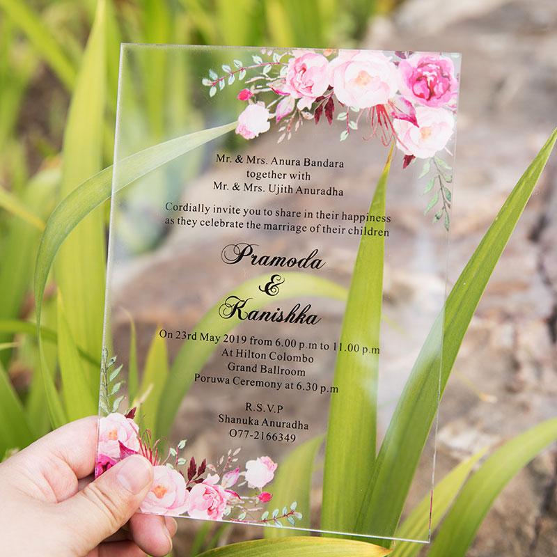 Acrylic Pink Floral Wedding Invitation Simplicity Clear Wedding Invitations PWIA005