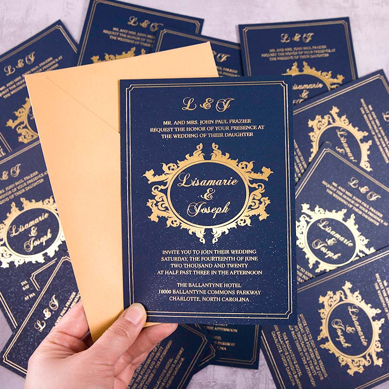 Foiled Modern Wedding Invitations Minimalism Invitation Cards PWIG005