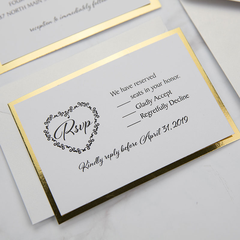 Luxury Black Shimmer Laser Cut Wedding Invitations With Gold Glittery Mirror Paper PWIL064