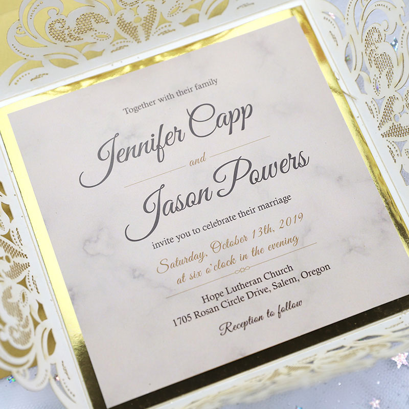 Glittery Champagne Gold Laser Cut Wedding Invitation with Gold Mirror Backer and Gold Foil Belly Band PWIL065