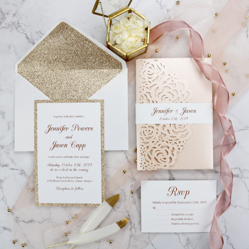 blush shimmer rose pattern laser cut wrap with classic wedding invitation and belly band PWIL067