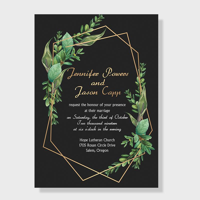 Fairytale Leaves Geometric Wedding Invitations PWIF024