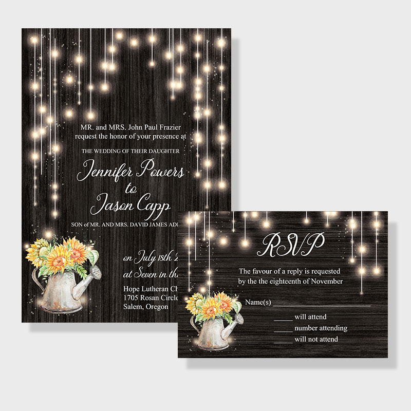 Sunflower String Light Rustic Wedding Invitations PWIF025